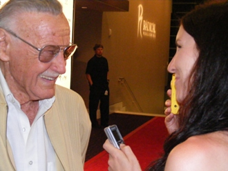 The Action Flick Chick interviews Stan Lee on the red carpet at the Hard Rock Hotel before the Nick Simmons Radical Publishing party. San Diego, California.