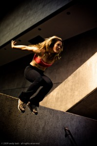 Luci Romberg - freerunner/parkour artist. Photo © 2009 Andy Batt, used with permission.