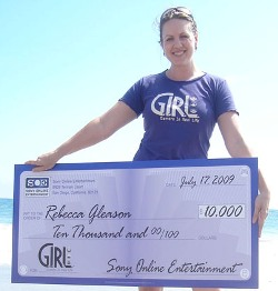 Rebecca Gleason, recipient of Sony Online Entertainment's GIRL Scholarship: It's not just any ole scholarship when the check's this big.